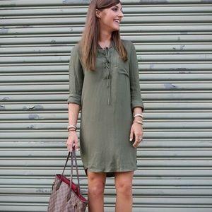 WAYF Olive Green Long Sleeve Lace Up Shirt Dress